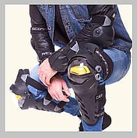 Мото наколенники + налокотники чёрные Skoyco c жёлтой вставкой