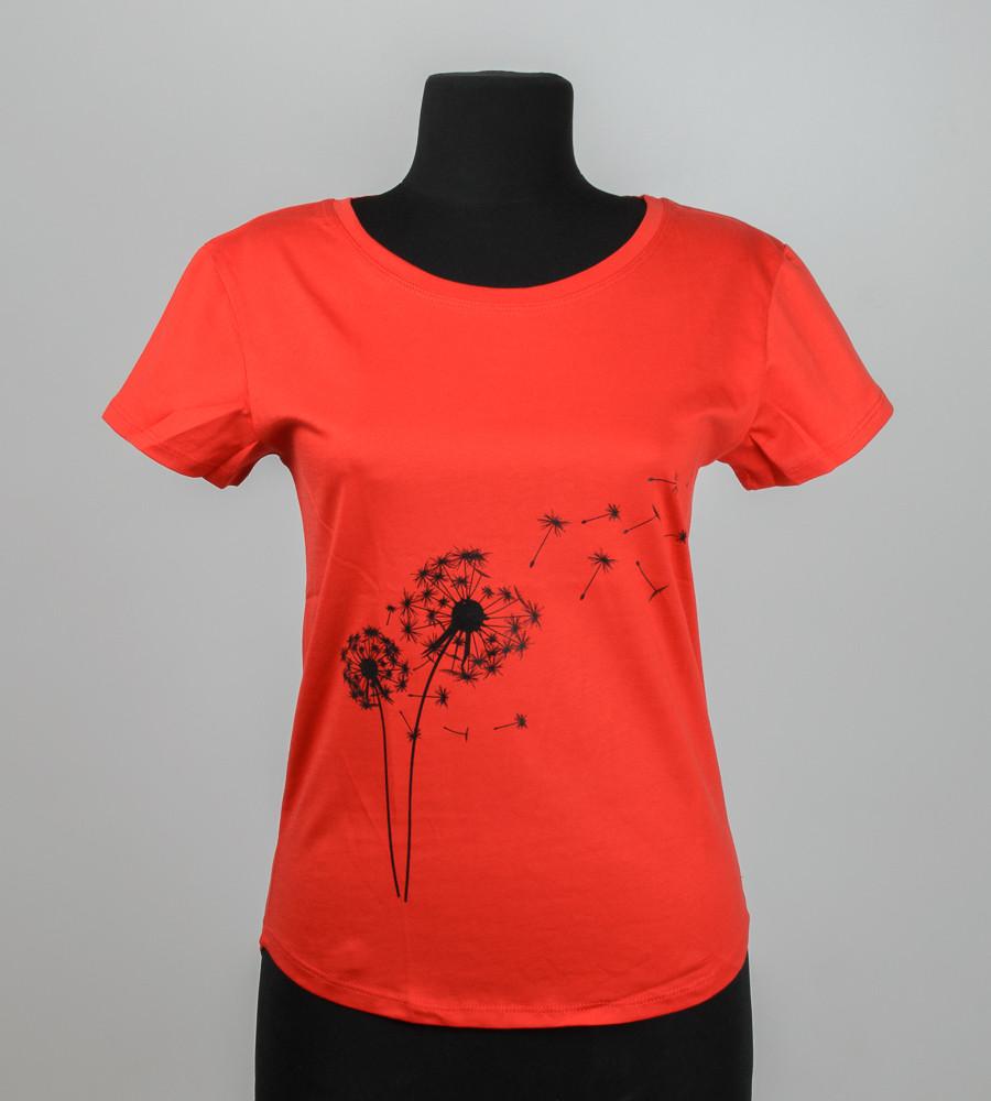 Футболка женская свободного кроя Одуванчики (2072жс), Красный