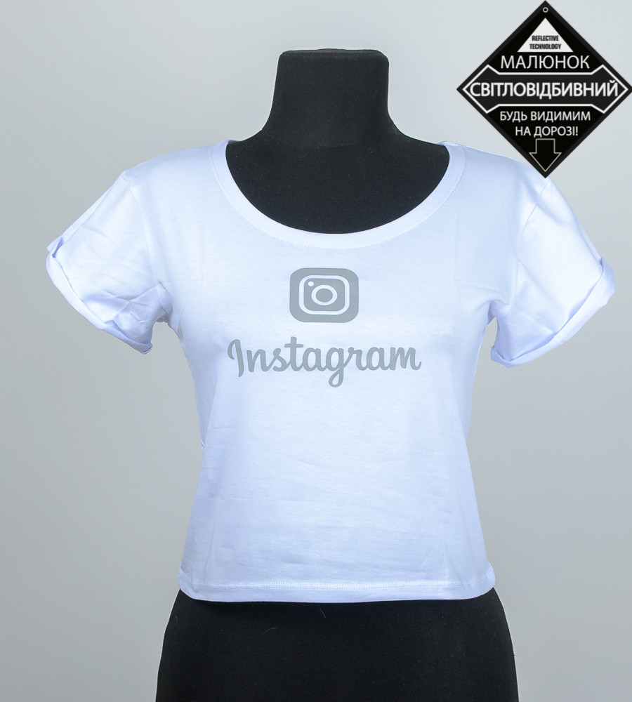 """Топ женский """"Instagram"""", размер: M (Т001), Белый"""