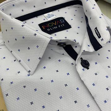 Рубашка детская белая c отделкой и принтом. INGVAR