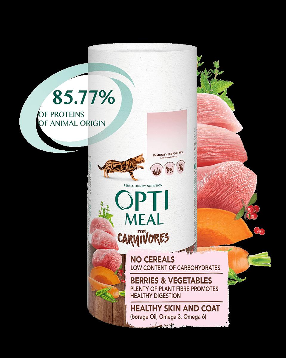 Optimeal (Оптимил) беззерновой корм для взрослых кошек индейка и овощи, 650 г