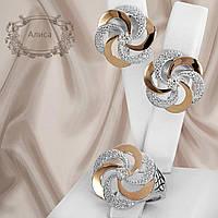 """Шикарный серебряный набор украшений 925 пробы с золотыми пластинами и белыми фианитами """"Алиса"""""""
