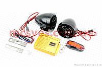 АУДИО-блок (МРЗ-USB/SD+FM-радио+пульт ДУ+сигнализация) + колонки 2 шт (черные), фото 1