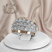 """Шикарное женское кольцо из серебра 925 пробы и золотыми пластинами 375 пробы и белыми фианитами """"Лета"""""""