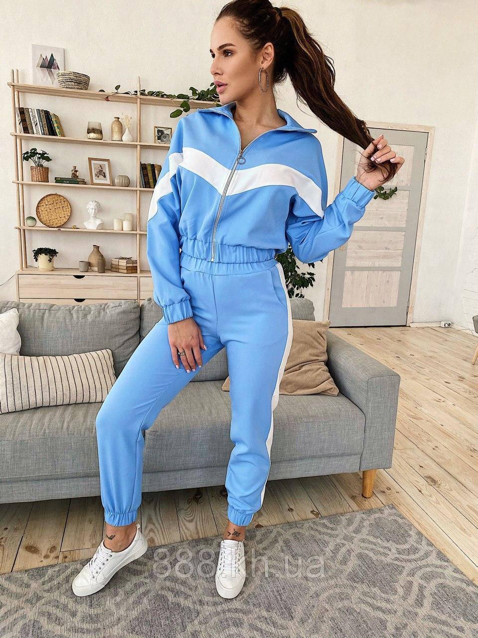 Стильный голубой комплект из костюмной ткани в стиле спорт-шик. S/M/L