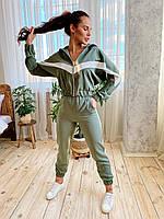 Стильный комплект из костюмной ткани в стиле спорт-шик. S/M/L хаки, фото 1