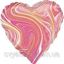 """Фольгований куля-серце """"Агат рожевий Pink Marble S18"""", Anagram"""