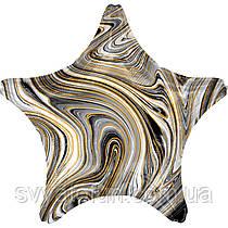 "Фольгований куля-зірка ""Агат чорний Black Marble S18"", Anagram"