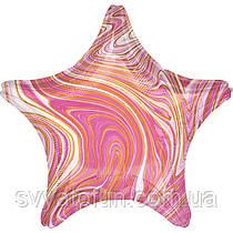 "Фольгований куля-зірка ""Агат рожевий Pink Marble S18"", Anagram"