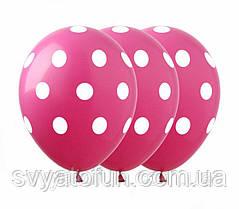 """Латексные воздушные шарики """"Горошек на малиновом"""", 12"""", (100 шт/уп), GR-5, ArtShow"""