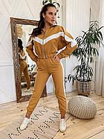 Стильный горчичный комплект из костюмной ткани в стиле спорт-шик. S/M/L, фото 1