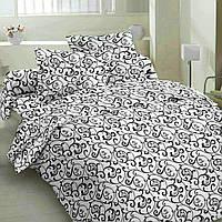 """Семейные постельные комплекты Бязь Gold """"Чёрный вензель на белом"""""""