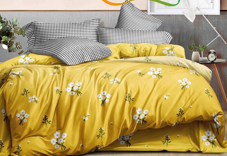 """Комплект постельного белья из ранфорса ТМ """"Ловец снов"""", Цветы на желтом"""