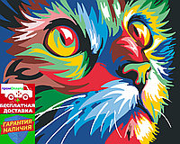 Картина по номерам Радужный кот Райдужний кіт (цветной холст) худ. Ваю Ромдони 40*50см Розпис по номерах