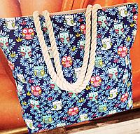 Пляжные тканевые сумки оптом  (СИНИЙ ЦВЕТЫ)43*45см