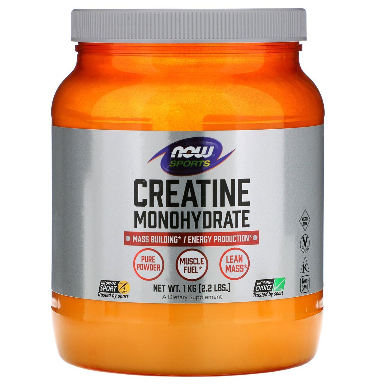 Now Foods, Спорт, креатин моногидрат, 100% чистый порошок, 2,2 фунта (1 кг)