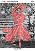 БС 3240 Дівчина у червоній сукні (част.виш.). Схема для вишивання бісером
