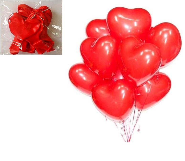 Надувные шарики в форме сердца красные 10 шт в пачке