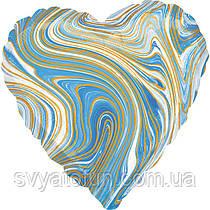 "Фольгований куля-серце ""Агат блакитний Blue Marble S18"", Anagram"
