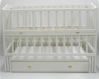 Детская кроватка Кузя Анастасия Бук, шухляда, маятник, откидная боковина, Белая