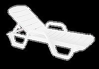Шезлонг лежак пластиковый белый
