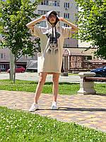 Женское платье-худи  из котона Poliit 8749