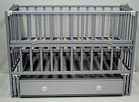 Детская кроватка Кузя Анастасия Бук, шухляда, маятник, откидная боковина, Серая