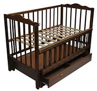 Детская кроватка Кузя Анастасия Бук, шухляда, маятник, откидная боковина, Венге