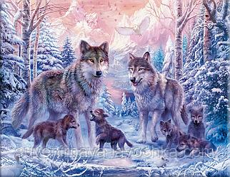 """Набор для вышивания крестиком """"Семья волков"""" 40х50 см"""