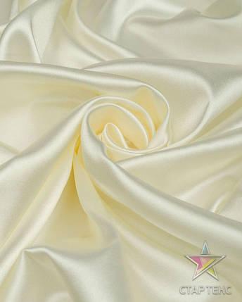 Ткань Атлас Королевский (стрейч плотный) Молочный, фото 2