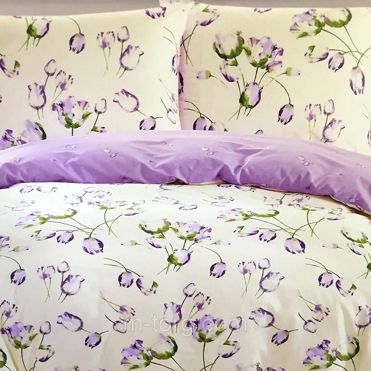 """""""Тюльпаны"""" Постельное белье Elway Premium евро размер 200*220 см,ткань сатин 100% хлопок"""
