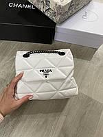 Женская брендовая сумка Prada Прада цвет белый, женские модные сумки, брендовые сумки