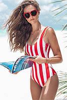 Купальник  женский слитный в полоску, красно-белый, фото 1