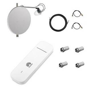 Комплект для 4G интернета модем Huawei E3372 + офсетная антенна MIMO 2x27 dBi