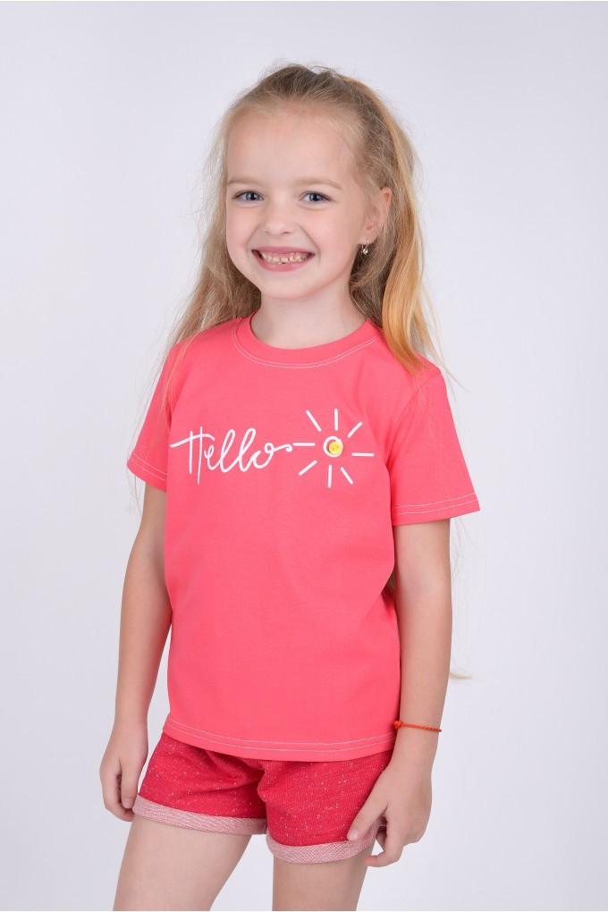 Футболка для девочки Hello, цвет коралловый (рост 92)