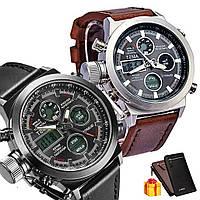 Мужские наручные тактические часы AMST / Армейские часы + Мужское портмоне