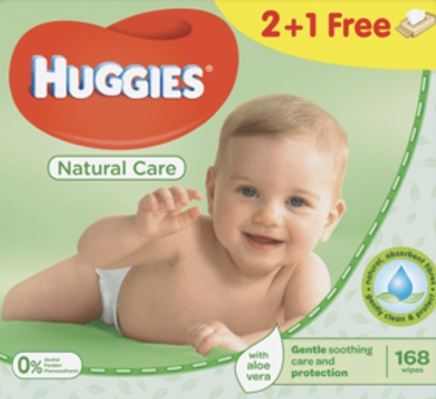 Влажные салфетки Huggies (Хаггис) Natuural Care ALOE VERA  2+1, 3х56 шт.В упаковке 168 шт