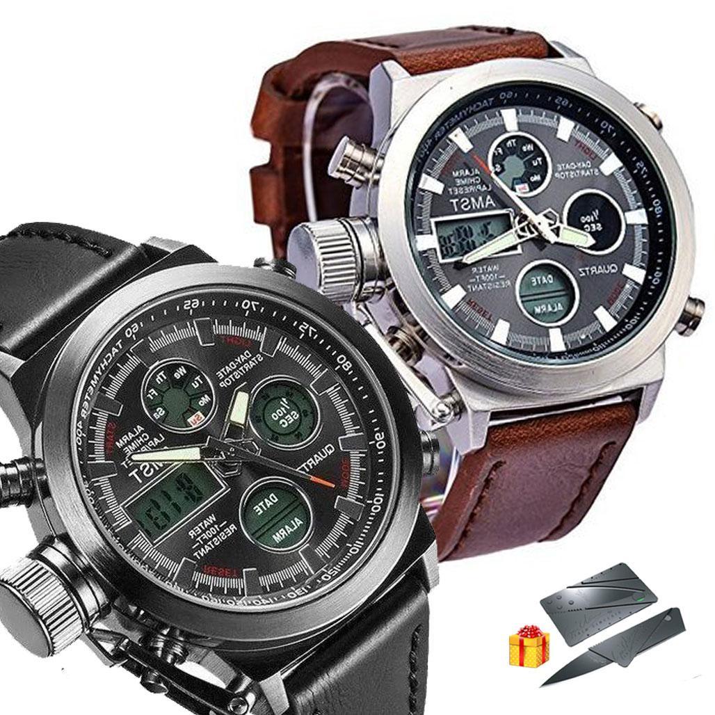 Мужские наручные тактические часы AMST / Армейские часы + Нож-визитка в Подарок