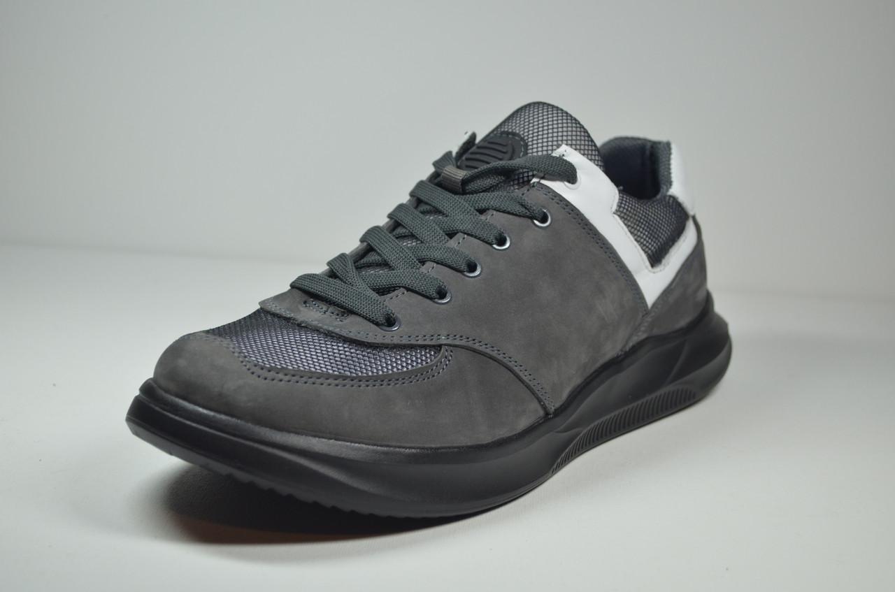 Мужские спортивные туфли кроссовки нубуковые серые Samas 133 - 1