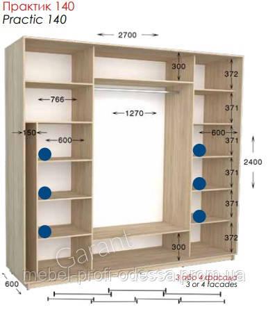 2700х600х2400 Практик 140 Прямой шкаф купе фабрика Гарант в Одессе