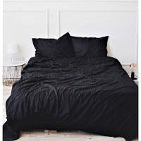 Двуспальное постельное белье Страйп Сатин Премиум (100% хлопок) - Black - SL 486