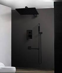 Душевая система скрытого монтажа ZOSN 25 см, Черный, с изливом