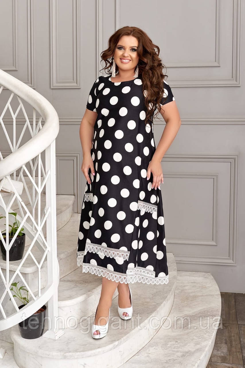 Летнее платье женское большого размера 48, 50, 52, 54, 56, платье в горох короткий рукав, батальное