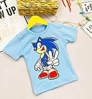 Стильная голубая футболка для мальчика на лето Sonic Соник