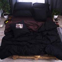 Полуторное однотонное постельное белье Бязь Премиум - Черный с коричневым