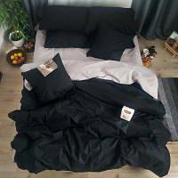 Полуторное однотонное постельное белье Бязь Премиум - Серый с черным