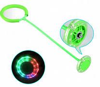 Детская светящаяся скакалка на ногу (Нейроскакалка) c LED подсветкой  Салатовая