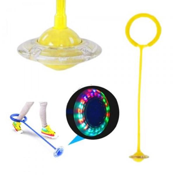 Детская светящаяся скакалка на ногу (Нейроскакалка) c LED подсветкой Желтая