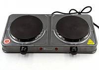 Настольная электрическая плита на 2 конфорки Domotec MS-5822 2000W Серая, двухкомфорочная электроплита (NS), фото 1