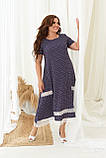 Летнее платье женское большого размера 48, 50, 52, 54, 56, платье в мелкий горох короткий рукав, батальное, фото 2